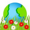 Векторный клипарт: Планета Земля и цветы