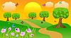 Векторный клипарт: летний пейзаж на закате с бабочками и