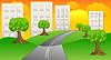 Векторный клипарт: асфальтированная дорога, чтобы передать домов