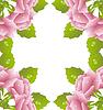 Векторный клипарт: белый фон с розовыми розами