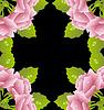Векторный клипарт: черный фон с розовыми розами