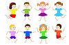 Set von Kindern von Mädchen und Jungen | Stock Vektrografik