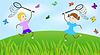 Векторный клипарт: Девочка и мальчик ловить бабочек на зеленом газоне