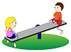 Векторный клипарт: Девочка и мальчик качели на качелях