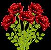 Strauß roter Rosen auf schwarzem Hintergrund