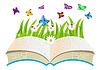 offenes Buch, Blumen und Schmetterlinge
