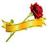 rote Rose und goldenen Schleife