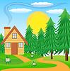 Holzhaus auf der grünen Wiese in der Nähe von Wald