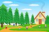 Kinder spielen in der Nähe von Wald grünen Rasen