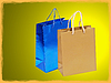 Blue and golden shopping bag with frame border | Stock Foto