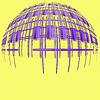 Abstrakter lila zerstört Globus Silhouette auf yello | Stock Illustration