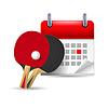Ping-Pong-Schläger und Kalender