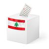 Wahlurne mit Stimmzettel. Libanon