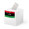 Wahlurne mit Stimmzettel. Libyen