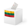 Wahlurne mit Stimmzettel. Litauen