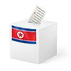 Wahlurne mit Stimmzettel. Nordkorea
