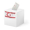 Wahlurne mit Stimmzettel. Nordzypern