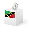 Wahlurne mit Stimmzettel. St. Kitts und Nevis