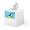 Wahlurne mit Stimmzettel. St. Lucia