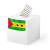 Wahlurne mit Stimmzettel. Sao Tome und Principe