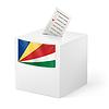 Wahlurne mit Stimmzettel. Seychellen
