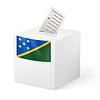 Wahlurne mit Stimmzettel. Salomon-Inseln