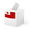 Wahlurne mit Stimmzettel. Tonga