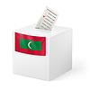 Wahlurne mit Stimmzettel. Republik Malediven