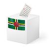 Wahlurne mit Stimmzettel. Dominica