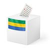 Wahlurne mit Stimmzettel. Republik Gabun
