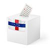 Wahlurne mit Stimmzettel. Niederländische Antillen