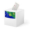 Wahlurne mit Stimmzettel. Weihnachtsinsel