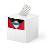 Wahlurne mit Stimmzettel. Antigua und Barbuda