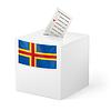 Wahlurne mit Stimmzettel. Aland-Inseln