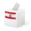 Wahlurne mit Stimmzettel. Französisch-Polynesien