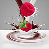 Himbeeren mit Milch und Schokolade