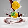 Gelbe Himbeeren mit Milch und Schokolade