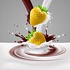 Erdbeeren mit Milch und Schokolade