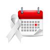Weiß Bewusstseinsband und Kalender