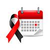 Rote und schwarze Bewusstseinsband und Kalender