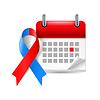 Rote und blaue Bewusstseinsband und Kalender