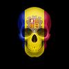 Andorranischen Flagge Schädel