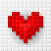 Rote Herzen aus Baukasten