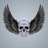 Metall-Chrom-Totenkopf mit zwei Flügeln