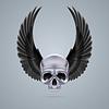 Metall-Chrom-Totenkopf mit zwei Flügeln bis