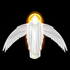 Weißer Engel auf schwarz