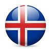 Runde glänzend Symbol von Island