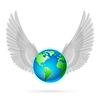 Globus mit weißen Flügeln