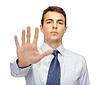 Przystanek atrakcyjny gest podejmowania Buisnessman | Stock Foto