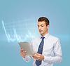 Buisnessman mit Tablet PC und Forex-Chart | Stock Foto
